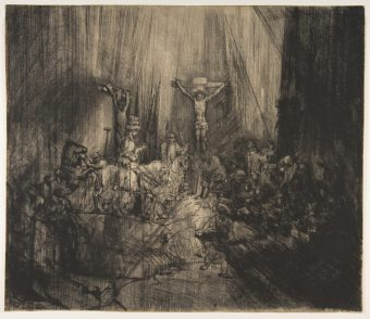 Etching Course London Fine Art Studios Rembrandt Christ Crucified Between the Two Thieves 1653
