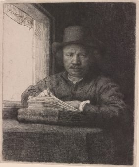 Etching Course London Fine Art Studios Rembrandt Self Portrait Drawing at a Window 1648
