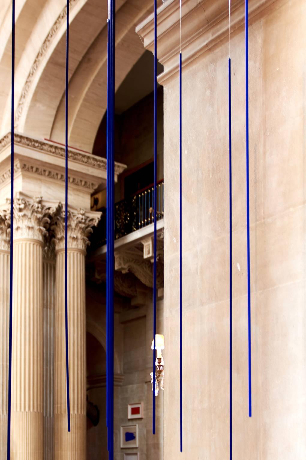 art classes, london fine art studios, london arts, art classes, fine art, art workshops, materials workshop, the colour blue, blue, Pluie bleue, 1957, suspended from the ceiling of the Great Hall.