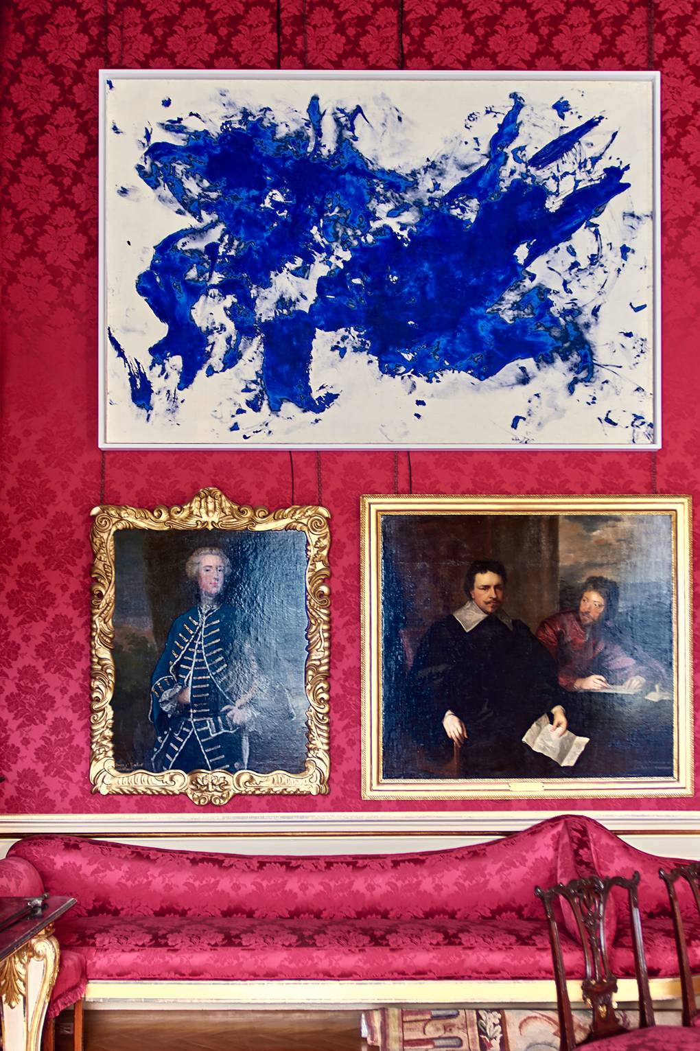 london fine art studios, london rt classes, art classes, fine art, art studios, studios in london, art workshops, Yves Klein Jonathan Swift, 1960, in the company of family portraiture in the Red Drawing Room.