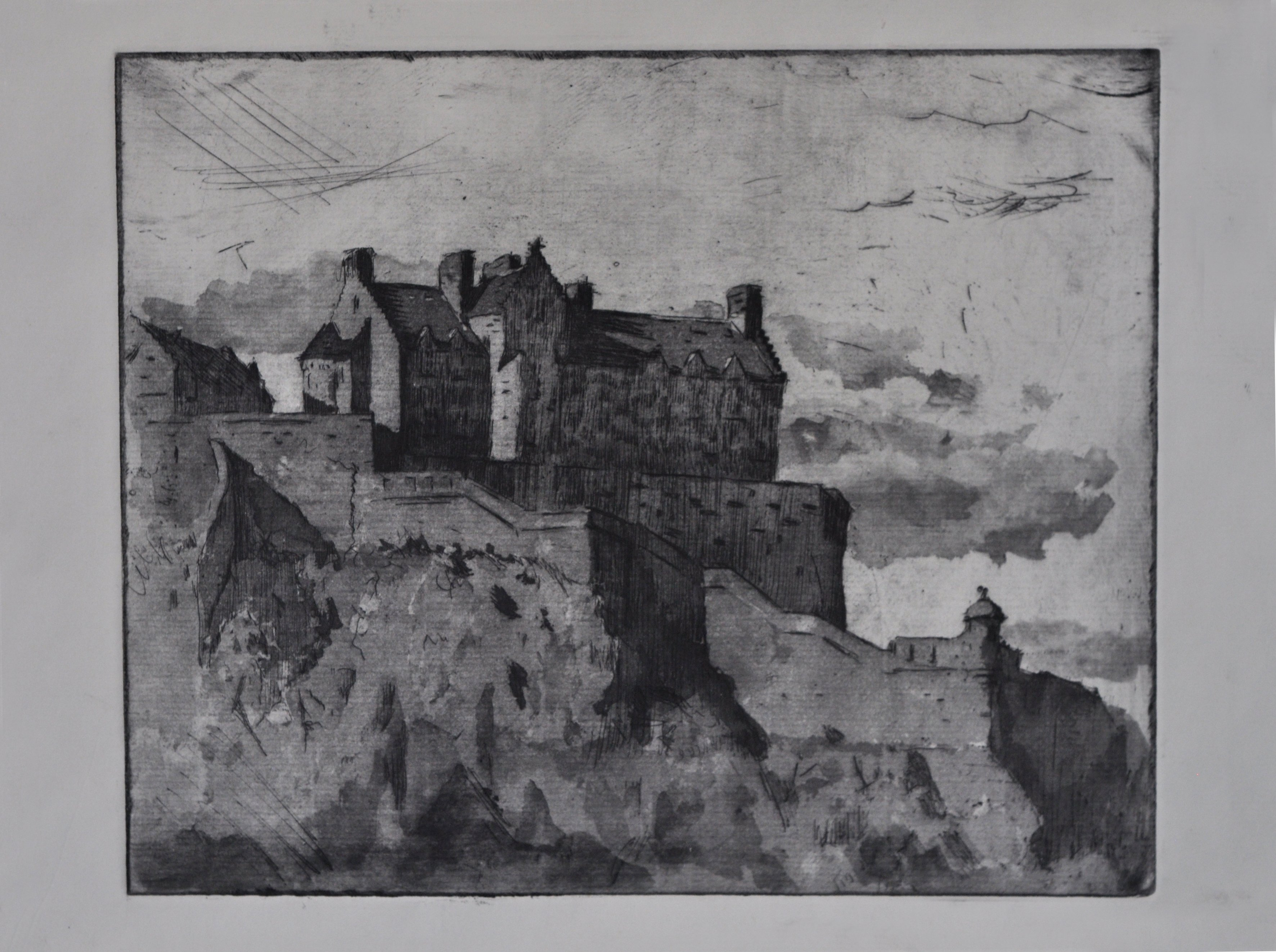 Edinburgh Castle, etching, chris gray, Drawing, sketch, art master, artist, london artist, london fine art studios, fine art studios, london studios, artwork, painting, oil painting, art classes, art workshops, art class, professional artist, london studios