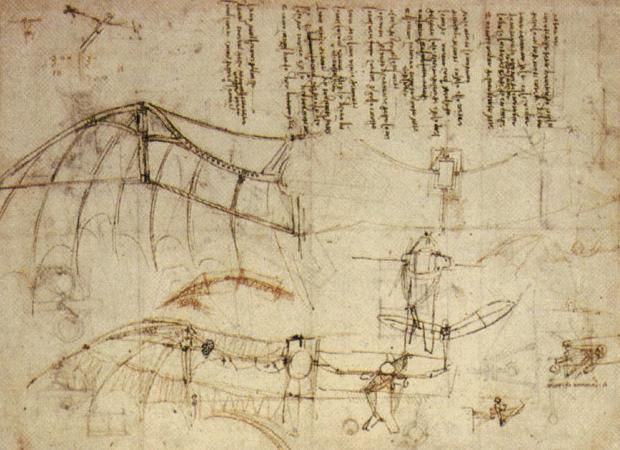 leonardo da vinci, flying machine, Leonardo Design for a Flying Machine,, c. 1488