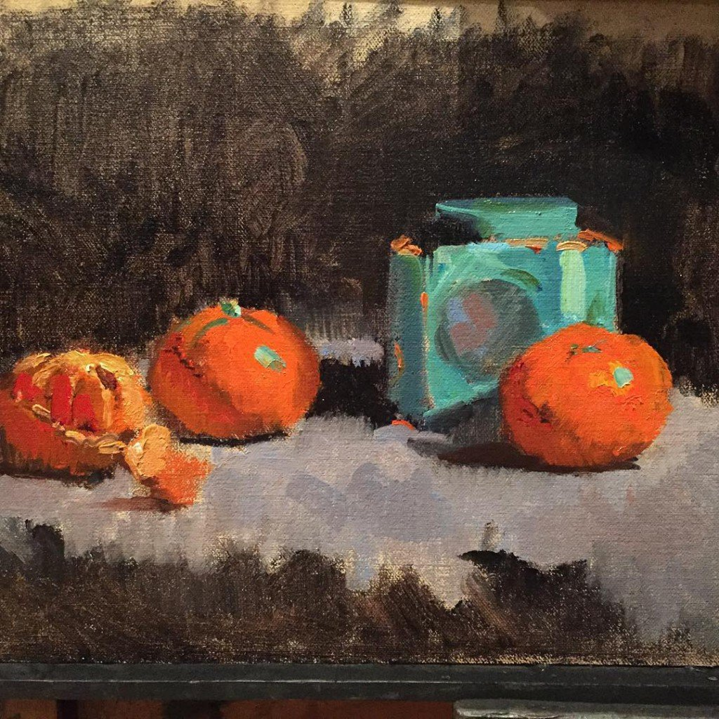 Still life oil painting course atelier london oranges