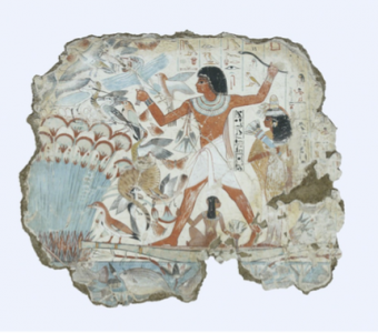 Nebamun hunting in the marshes, fragment of a scene from the tomb-chapel of Nebamun. Late 18th Dynasty c1350BC