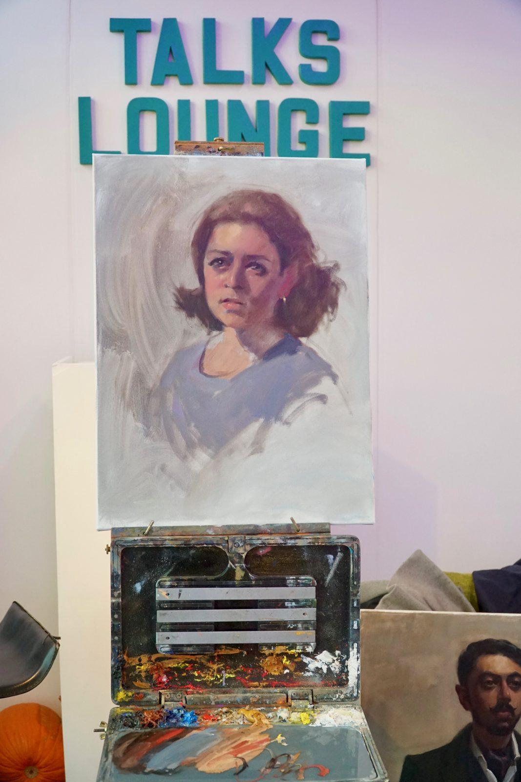 painting demo, oil painting, affordable arts fair, autumn Battersea 2018, Battersea, london art, london, art classes, fine art classes, painting workshops, art london, art studios, affordable art fair london