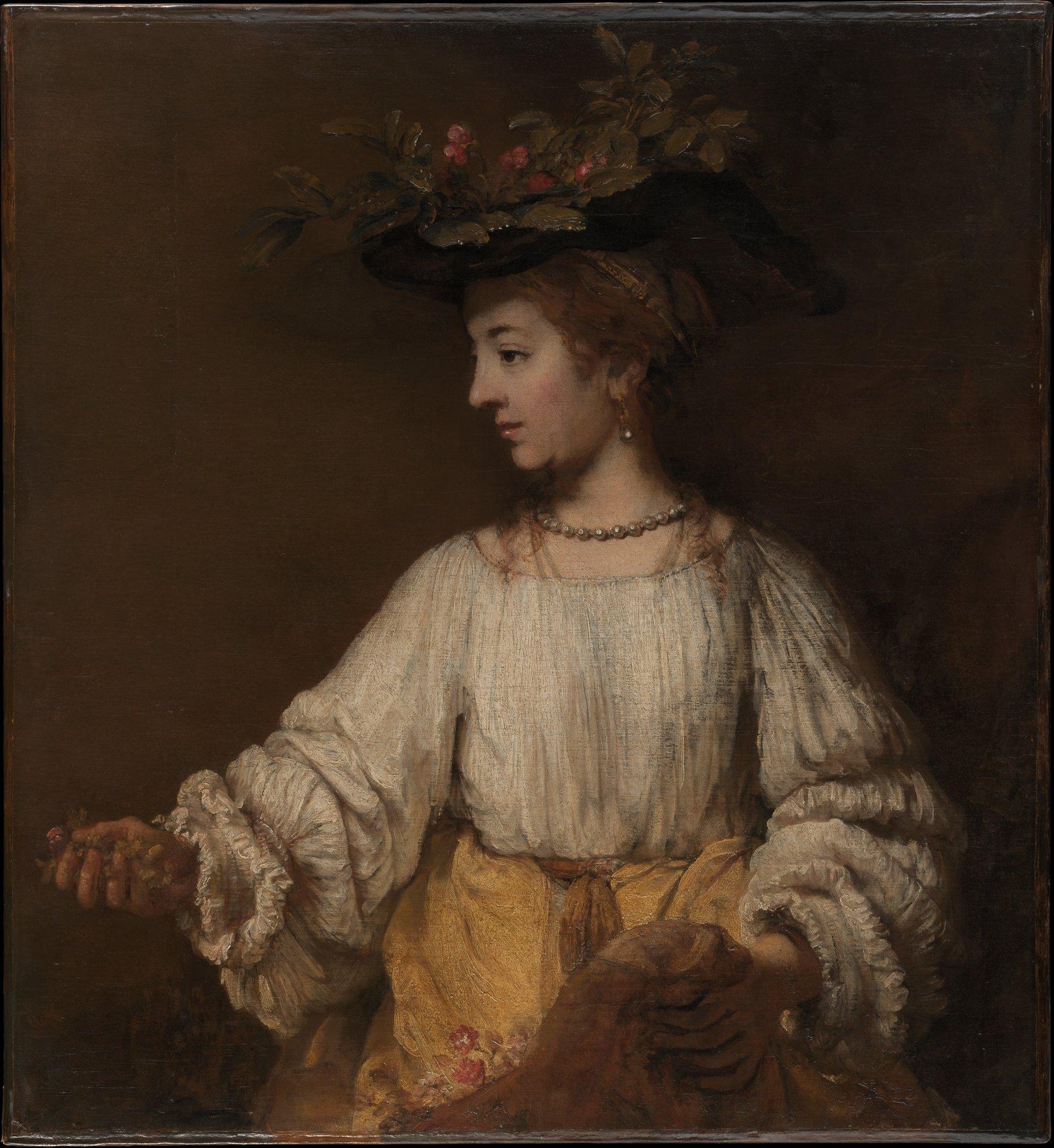 Flora, Rembrandt, Oil on canvas, ca. 1654, 39 3/8 x 36 1/8 in. (100 x 91.8 cm), The Metropolitan Museum of Art, fine art, london, london fine art studios, oil painting workshops, art classes london, classical art, chiaroscuro
