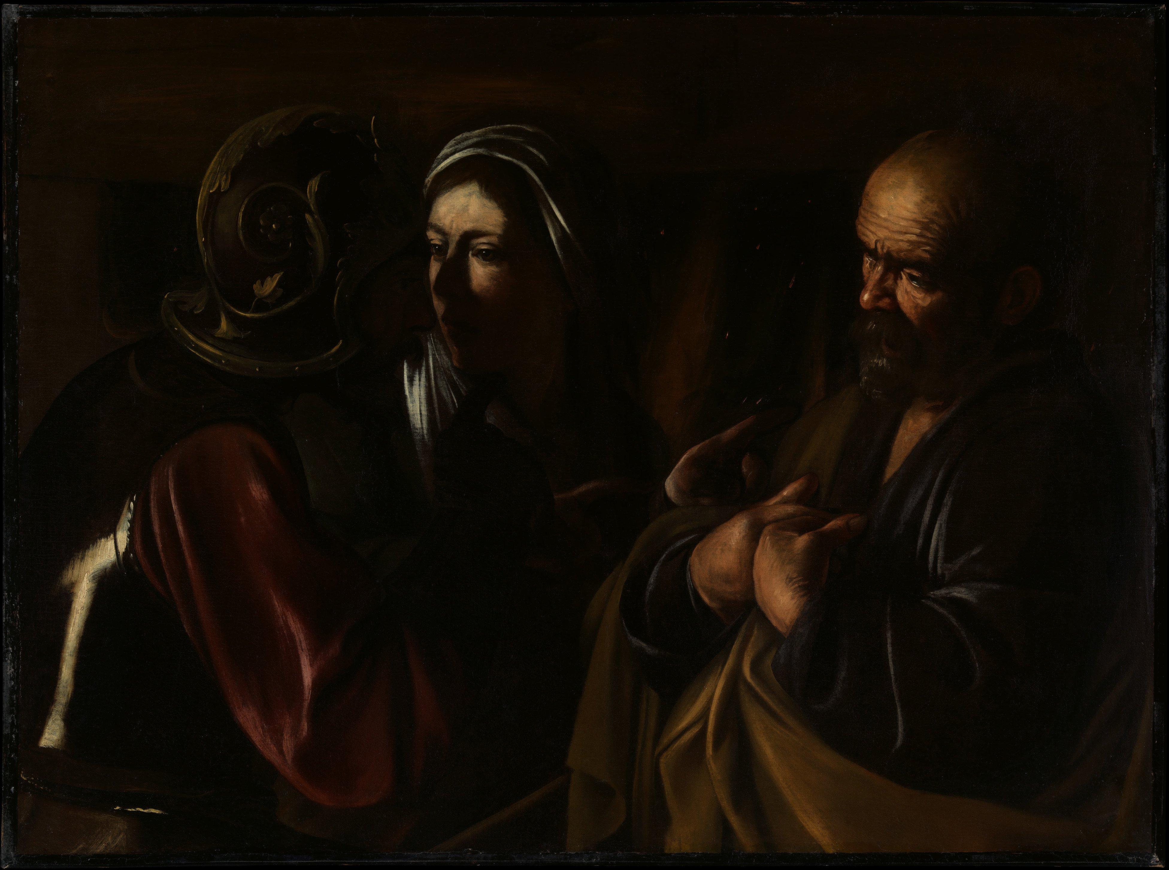 The Denial of Saint Peter, Caravaggio, 1610, oil on linen, metropolitan museum, ine art, london, london fine art studios, oil painting workshops, art classes london