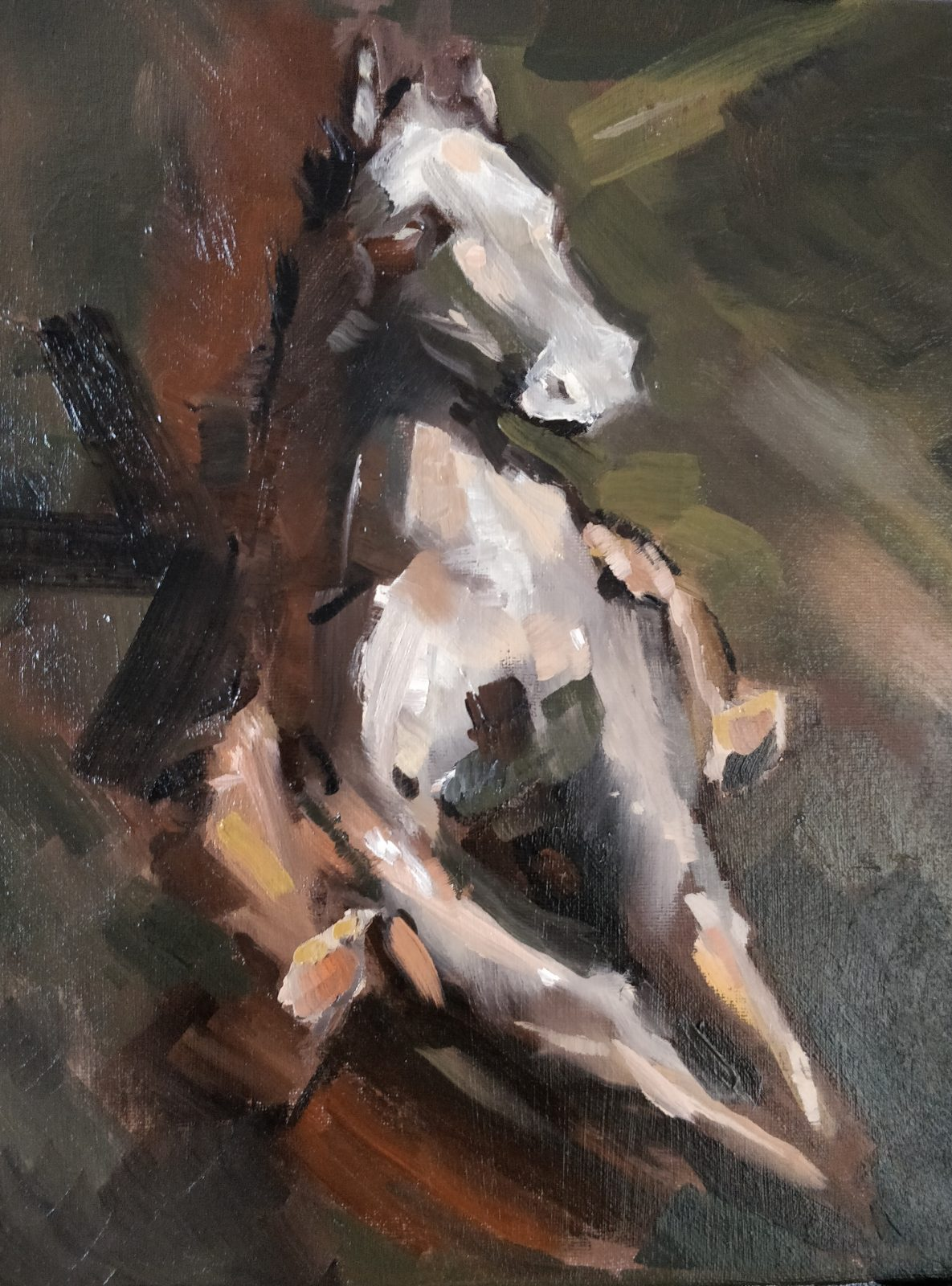 Horse painting with oil