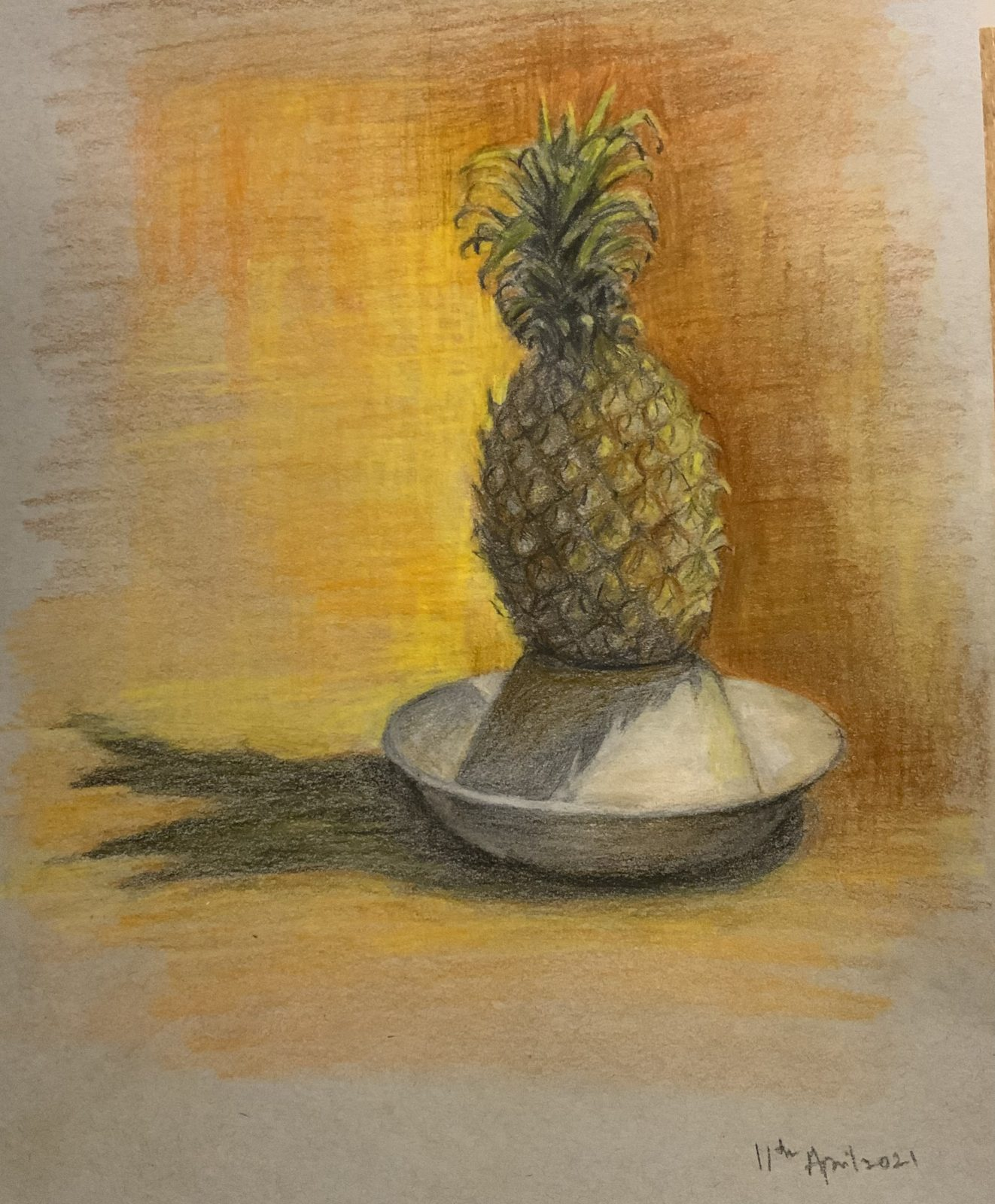 drawing, colour pencils, pineapple