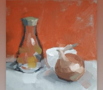 oil painting, red, onion
