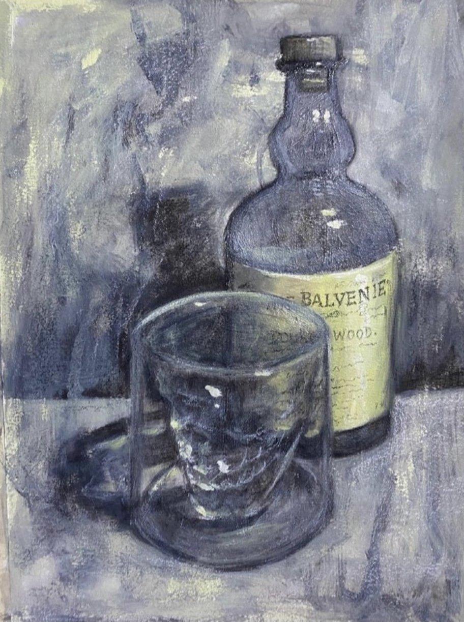 oil painting, gin bottle, glass,